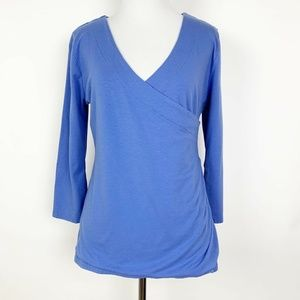 Soft Surroundings Blue Faux Wrap Top Ruched Front